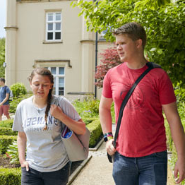Students walking away from Singleton Abbey