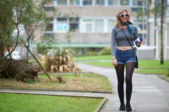 Student walking in one of the residential areas