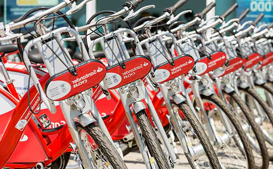 The Santander Bikes in rows ready for their summer launch