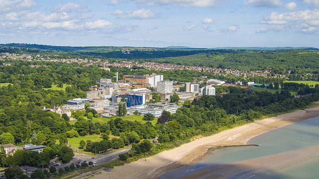 Aerial shot of Singleton Park Campus and Beach