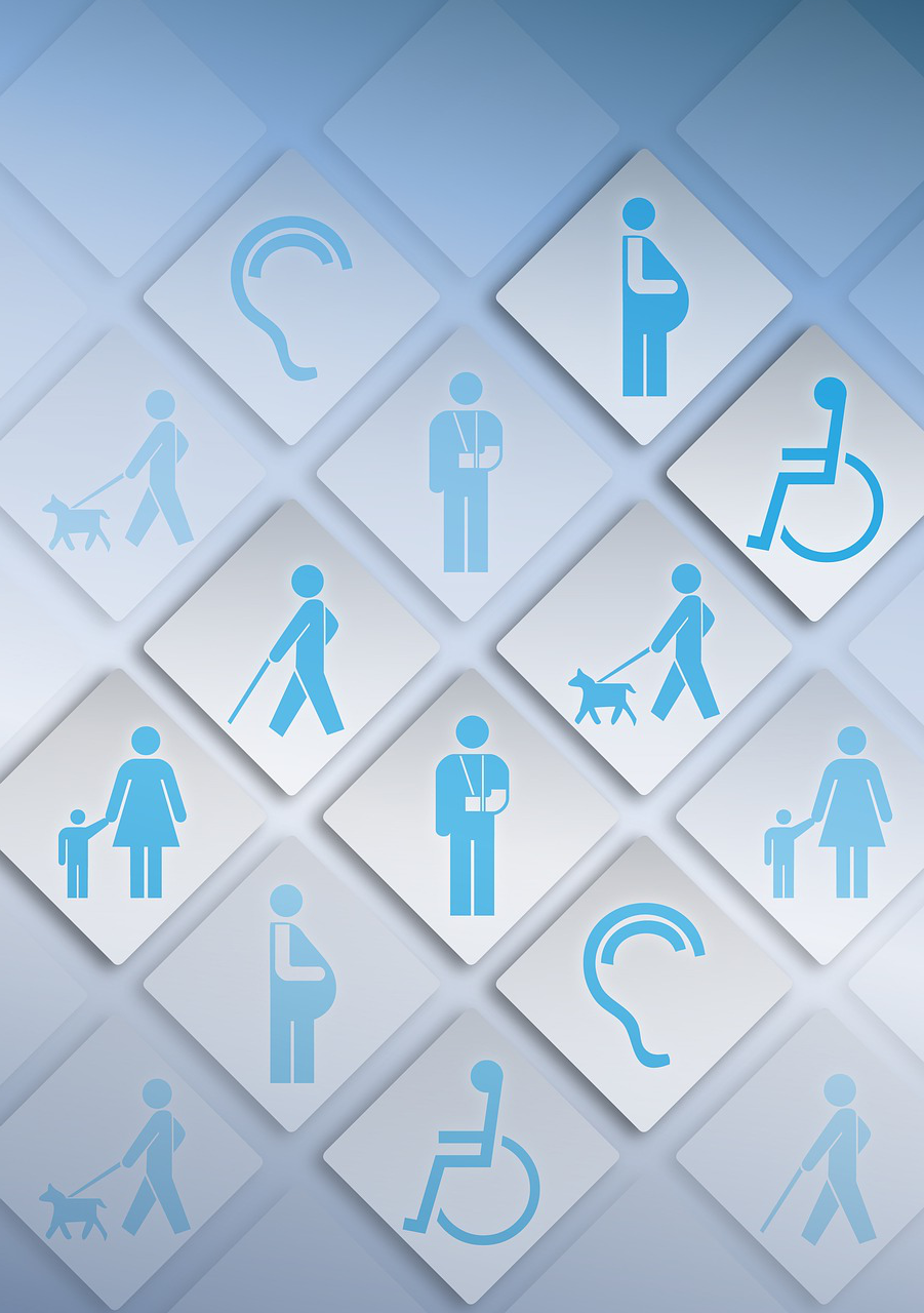 A variety of tiles showing different types of disabilities