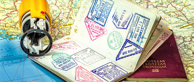 Detail of passport and visa