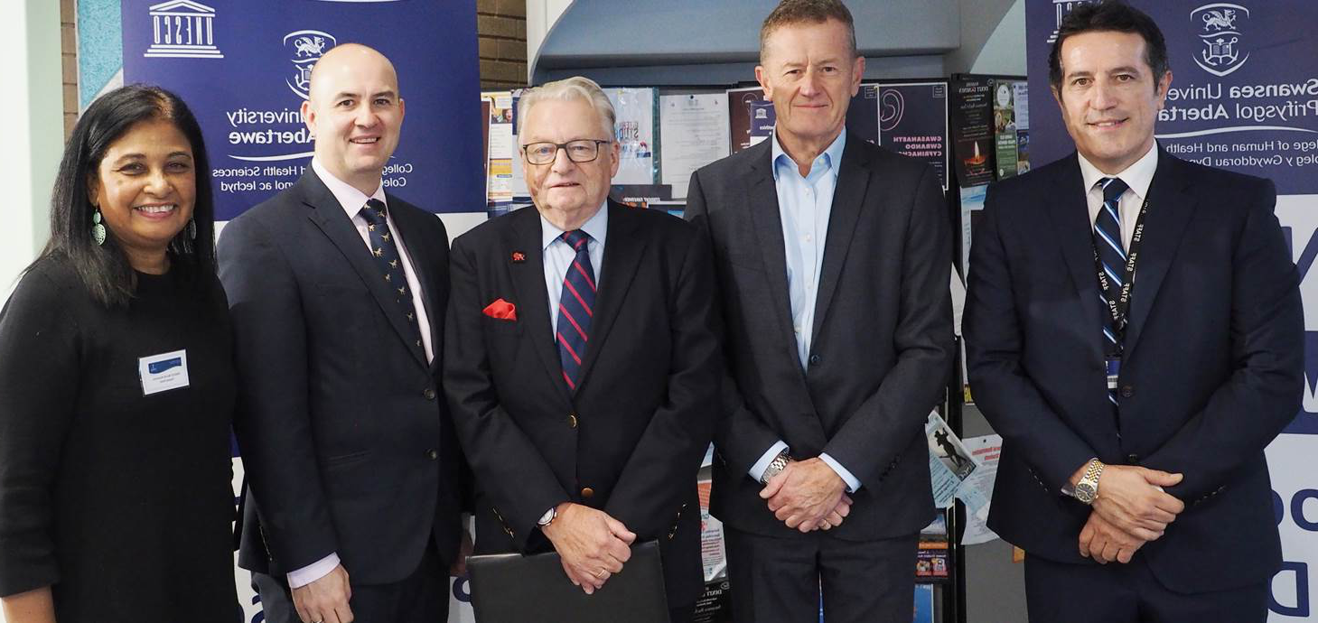 Pictured at the conference are (from left)  Paul Joseph, lecturer in Health Care Law and Ethics, head of the College of 人类与健康科学 Professor Ceri Phillips, Dafydd Elis Thomas, Deputy Minister for Culture, 运动 and Tourism , Swansea University Registrar Andrew Rhodes and Chantal Patel