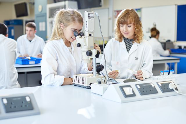 Female students in geography lab