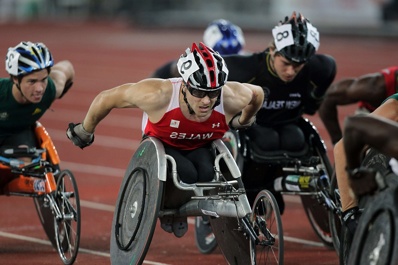 Wheelchair athletes in a race