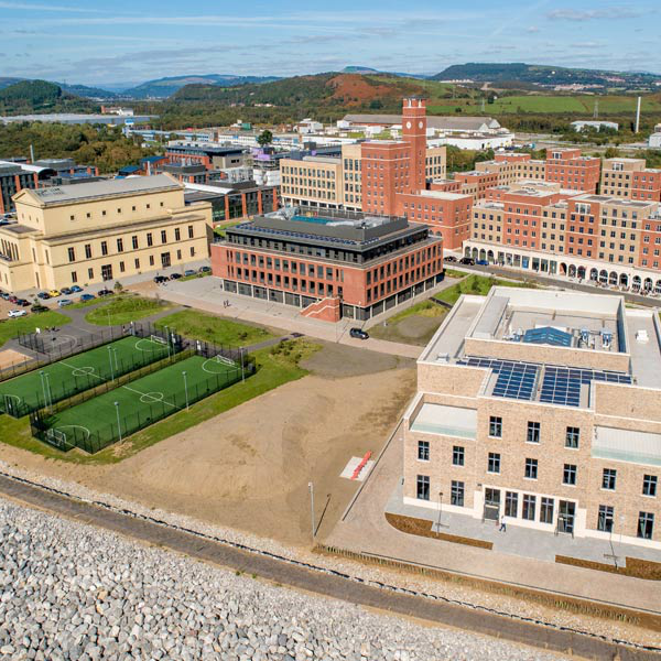 Aerial view of Bay Campus